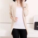 เสื้อไหมพรม ผ้าผสม เสื้อคลุม แขนยาว ผู้หญิง เสื้อ แจ็คเก็ต ใส่ทำงานใน ออฟฟิต กันหนาว สีครีม แบบสวย สไตล์ ผู้บริหาร 456604