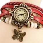 นาฬิกาข้อมือผู้หญิง นาฬิกา สายหนังถัก สไตล์วินเทจ สีแดง ห้อยจี้รูปผีเสื้อ หน้าปัดสี่เหลี่ยม ของขวัญ น่ารัก ๆ ให้แฟน no 970434