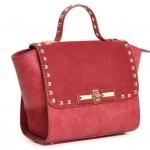 กระเป๋าถือผู้หญิง กระเป๋าถือ แฟชั่น ยุโรป ดีไซน์ แบรนด์ ชั้นนำ กระเป๋าผู้หญิง หนังแท้ ตอกหมุด สีทอง เพิ่มความ หรูหรา สีพื้น เรียบหรู กระเป๋าถือไฮโซ 832922