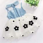 ชุดกระโปรงเด็กผู้หญิง 2 ขวบ อายุ 6 - 24 เดือน เดรสแขนกุด เสื้อยีนส์ กระโปรงขาว ติดดอกไม้ ชุดกระโปรง สไตล์ ลูกคคุณหนู ลดราคา 748031