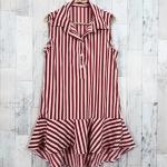 SALE!! dress3418 ชุดเดรสน่ารักคอปกเชิ้ตทรงหางปลา หน้าสั้นหลังยาว ผ้าไหมอิตาลีเนื้อนิ่มลายริ้วใหญ่ สีขาวเลือดหมู