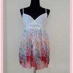 **สินค้าหมด Sale!! dress2004 เดรสแฟชั่นผ้าชีฟองสายเดี่ยวชายกระโปรงลายดอกไม้ สีแดง