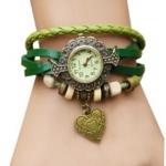 นาฬิกาข้อมือผู้หญิง นาฬิกา สายหนังถัก แบบสร้อยข้อมือ ห้อยจี้รูปหัวใจ สีเขียว ธรรมชาติ สไตล์วินเทจ ของขวัญ ให้แฟน สุดหรู 970434_2