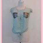 **สินค้าหมด Sale!! blouse1647 เสื้อแฟชั่นผ้าชีฟองเนื้อทรายแขนระบาย กระเป๋าอกปักเลื่อม ผูกชาย สีเขียวพาสเทล รอบอก 36 นิ้ว