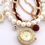 สร้อยข้อมือนาฬิกา ประดับไข่มุก ร้อยสายหนังแท้ สีแดง ประดับ ตุ้งติ้งฝังเพรชร และ สมอเรือ ของขวัญสุดหรู ราคาถูก no 26327_4