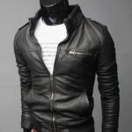 เสื้อคลุมผู้ชายแขนยาว สไตล์ แจ็คเก็ตหนัง สีดำ แมน ๆ Jacket หนัง ดีไซน์ คอตั้ง เอวจั้ม แขนจั้ม แต่งซิปด้านหน้า no 628170