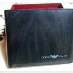 กระเป๋าสตางค์ผู้ชาย ใบสั้น Armani สีดำ พร้อมถุงกำมะหยี่