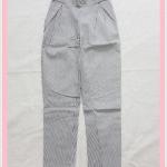 **สินค้าหมด bottom322 กางเกงแฟชั่นขายาว ผ้ายีนส์ยืด กระเป๋าข้าง เอวยางยืด ลายทางสีขาวดำ