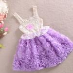 เดรส เด็กผู้หญิง ชุดกระโปรง ลายดอกกุหลาบ สีม่วง ดอกลาเว็นเดอร์ เก๋ ๆ เดรสเสื้อแขนกุด ผ้าลูกไม้ ใส่หน้าร้อน เดรสเด็ก สไตล์ คุณหนู 273383