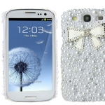 เคส Samsung Galaxy S3 i9300 เคส Diy ติด คริสตัล รูปโบว์ แต่ง ไข่มุก สีขาว ธีม หิมะ เคส คุณหนู แบบเรียบ ๆ ดูมีสไตล์ 172702