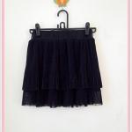 **สินค้าหมด skirt264 กระโปรงแฟชั่นงานแพลตตินั่ม ผ้าชีฟองอัดพลีทสองชั้น สีดำ เอวยืด 26-34 นิ้ว