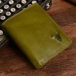 กระเป๋าสตางค์ผู้ชาย ใบสั้น กระเป๋าสตางค์หนังแท้ สีเขียว สำหรับผู้ชาย เกิดวันพุธ กระเป๋าสตางค์ สีมงคล หนังแท้ Oil wax ของขวัญให้แฟน สุดหรู 28821