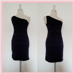 **สินค้าหมด dress2084 เดรสออกงานแฟชั่นแพลตตินั่ม แขนกุดบ่าเดียว ผ้าเนื้อดีทรงขนมชั้น สีดำ รอบอก 36 นิ้ว