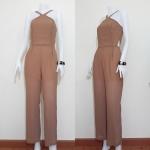 **สินค้าหมด jumpsuit425 จัมพ์สูทแฟชั่นขายาวสายเดี่ยวไข้วอกผ้าชีฟองสีน้ำตาลพาสเทล