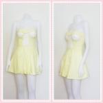 SALE!! dress2262 เดรสแฟชั่นเกาะอกเสริมฟองน้ำ ผ้าสกินนี่(ยืดได้เยอะ) สีเหลืองพาสเทล