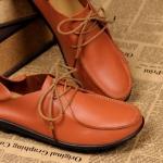 รองเท้าหุ้มส้น ผู้หญิง รองเท้าหนังแท้ รองเท้าคัทชู หุ้มส้น พื้นแบน ใส่สบาย ดีไซน์เก๋ เท่ ๆ สไตล์ ทอม มีเชือกผูกด้านหน้า สีส้ม no 450830_2