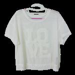 เสื้อผ้าแฟชั่น เสื้อลูกไม้ลายตาข่าย ปัก LOVE สินค้าฮ่องกง