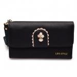 กระเป๋าสตางค์ Samilon สีดำ ขนาดกลาง คล้องข้อมือได้
