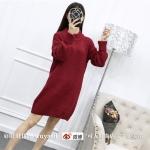 Sweater สีแดง เสื้อไหมพรมถักคอตั้งตัวยาว ใส่ตัวเดียวเป็นเดรสได้เลย เก๋ๆ ไหมพรมนุ่มยืดได้เยอะ