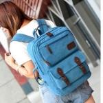 กระเป๋าเป้ กระเป๋าสะพายหลัง กระเป๋าเป้ แบบสี่เหลี่ยม สีฟ้า ยีนส์ ใช้เป็นกระเป๋าเดินทาง ใส่เสื้อผ้า ใส่ Notebook ได้ มีบุกันกระแทก ผ้าแคนวาส 996595_1