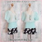 SALE!! blouse1818 Big Size Blouse เสื้อแฟชั่นไซส์ใหญ่ แขนตุ๊กตา สม็อคเอว กระดุมหน้า ผ้าโปร่งซีทรูลายจุดสีฟ้าพาสเทล