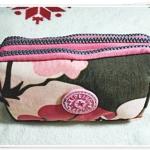กระเป๋าใส่เครื่องสำอางค์ ลายดอกไม้ สีชมพู น้ำตาล KP912