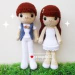 """ตุ๊กตาถัก คู่รัก แนวเกาหลี 12"""""""