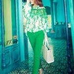 เสื้อแฟชั่น ผู้หญิง โทนสีเขียว สไตล์ คุณนาย เสื้อแขนยาว ผ้าชีฟอง ออกแบบเป็น ตาข่ายใบไม้ สีเขียว เสื้อแฟชั่นจากยุโรป แบบไฮโซ ไม่เหมือนใคร 783050