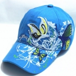 หมวก cap หมวกมีปีก หมวกเบสบอล ปักลาย ผีเสื้อ สีฟ้า หมวกแก๊ป งาน Hand made ไม่ซ้ำใคร สายด้านหลังปรับขนาดตามต้องการ 635599_1