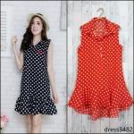 SALE!! dress3482 ชุดเดรสน่ารักคอปกเชิ้ตทรงหางปลา หน้าสั้นหลังยาว ผ้าไหมอิตาลีเนื้อนิ่มลายจุด พื้นสีส้ม