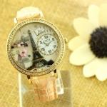 นาฬิกาข้อมือผู้หญิง diy 3 มิติ ตกแต่งรูป หอไอเฟล แห่ง กรุงปารีส สีดำ นาฬิกา สายหนังแท้ ใส่กับ ชุดเดรส แบบเก๋ ของขวัญให้แฟน สุดหรู 163734