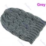 แฟชั่นหมวกไหมพรม งาน Hand Made สไตล์เกาหลี สีเทา