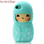 เคส iphone 6 ขนาด 4.7 นิ้ว เคสกิโมโน ตุ๊กตา จากประเทศญี่ปุ่น เคสซิโลโคน อย่างดี ตุ๊กตาใส่ชุดกิโมโน สีฟ้า อมเขียว น้ำทะเล 546970_1