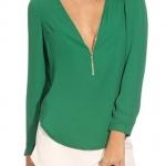 เสื้อผ้าชีฟอง แขนยาว เสื้อแฟชั่น ผู้หญิง ผ้าชีฟอง ดีไซน์ ซิปรูด สามารถปรับความลึกของคอเสื้อ ได้เอง สีพื้น สีเขียว เข้ม 245334_1
