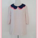 **สินค้าหมด Sale!! blouse1674 เสื้อแฟชั่นตัวยาวไซส์ใหญ่ผ้าชีฟอง คอบัว แขนสามส่วน สีเนื้อ