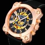 นาฬิกาข้อมือ โชว์กลไก Mechanical watch ผสมผสาน กับสายหนังแท้สีดำ หน้าปัดสี่เหลี่ยมใหญ่ แนวสปอร์ต หน้าปัดทอง เงิน ทองแดง ของขวัญให้แฟน 149895