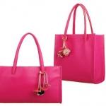 กระเป๋าถือผู้หญิง กระเป๋าหนัง สีชมพู กุหลาบ ชมพูเข้ม ห้อยดอกไม้ ดีไซน์ สไตล์ วินเทจ แบบ คลาสสิค กระเป๋าใส่ของไปเรียน ไปเที่ยว ปิคนิก 882629_7