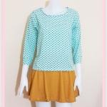 **สินค้าหมด blouse2096 เสื้อแฟชั่นผ้าชีฟองแขนห้าส่วน สีฟ้าพาสเทลลายจุดดำ