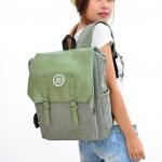 กระเป๋าเป้ กระเป๋าสะพายหลัง กระเป๋าใส่ notebook สไตล์ญี่ปุ่น สีเขียวอ่อน ใส่หนังสือเรียน ใส่เสื้อผ้าเที่ยว ผ้าแคนวาส ผสมหนัง คลาสสิค 818815_3