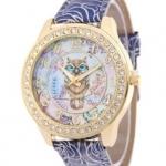 นาฬิกาข้อมือ ผู้หญิง ใส่ทำงาน นาฬิกาข้อมือ หน้าปัด ฝังเพชร CZ AAA ลายนกฮูก สายหนัง แบบสวย มีดีไซน์ นาฬิกาเก๋ ๆ 102881