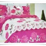 ชุดผ้าปูเตียง ผ้าปูที่นอน Cotton 6 ฟุต 3 ชิ้น สีชมพู ลายกุหลาบหวาน ๆ B024