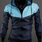 เสื้อ แจ็คเก็ต ผู้ชาย แบบ มีฮู้ด Jacket แบบ เท่ ๆ สีฟ้า สลับ กรมท่า ใส่กันลม กันแดด ผ้า Poly ผสม กันน้ำ ดีไซน์ 2 สี เสื้อนอก แบบซิปหน้า 824051_1