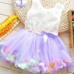 ชุดกระโปรงเด็กผู้หญิง อายุ 6 - 24 เดือน เดรสเด็กผู้หญิง สีม่วง ดอกลาเวนเดอร์ กระโปรงบาน ใส่ดอกไม้ สีรุ้ง เสื้อกุหลาบ แขนกุด สีขาว น่ารักมากค่ะ 785574