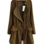 เสื้อคลุมผู้หญิง เสื้อกันหนาว ตัวยาว สไตล์ ยุโรป แขนยาว กำลังดี ใส่สบาย ดีไซน์เก๋ สีน้ำตาล โทนเขียวทหาร no 2732163_1