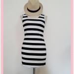 **สินค้าหมด dress2095 เดรสแฟชั่นงานแพลตตินั่มผ้ายืดเนื้อดี แขนกุด ลายขวางโทนสีขาวดำ รอบอก 36 นิ้ว
