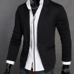 เสื้อคลุมผู้ชายแขนยาว สไตล์ แจ็คเก็ต แบบสูท คอปก ผ้า Cotton Jacket เสื้อคลุมใส่ทำงานใน ออฟฟิต สำหรับผู้ชาย สีดำ no 894640