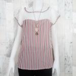 SALE!! blouse2156 เสื้อแฟชั่นไซส์ใหญ่ แขนในตัว อกซีทรู ผ้าชีฟองลายทางโทนสีขาวเขียวแดง