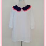 **สินค้าหมด Sale!! blouse1676 เสื้อแฟชั่นตัวยาวไซส์ใหญ่ผ้าชีฟอง คอบัว แขนสามส่วน สีขาว