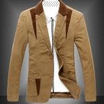 เสื้อสูท ผู้ชาย เสื้อ Jacket นอก แขนยาว ผ้า 2 ชั้น เสื้อนอก คอปก ออกแบบ ปกลูกฟูก มีกระเป๋าด้านใน สีน้ำตาลอ่อน เสื้อคลุม ผู้บริหาร 83054