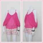 **สินค้าหมด Sale!! blouse1445 เสื้อแฟชั่นสไตล์ดารา ผ้าชีฟองเนื้อนิ่ม สายเดี่ยว แต่งดีเทลด้านข้าง สีชมพูช็อคกิ้งพิ้งค์